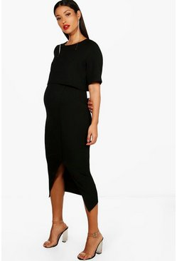 Womens Black Maternity  Layered Wrap Midi Dress