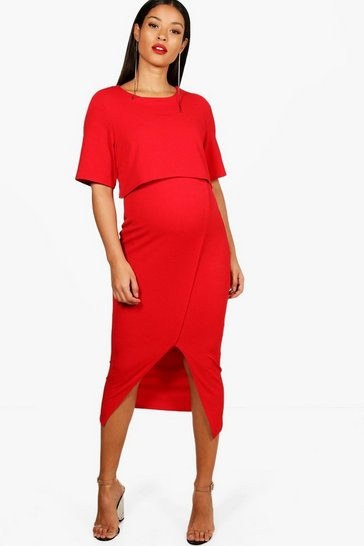 Womens Red Maternity  Layered Wrap Midi Dress