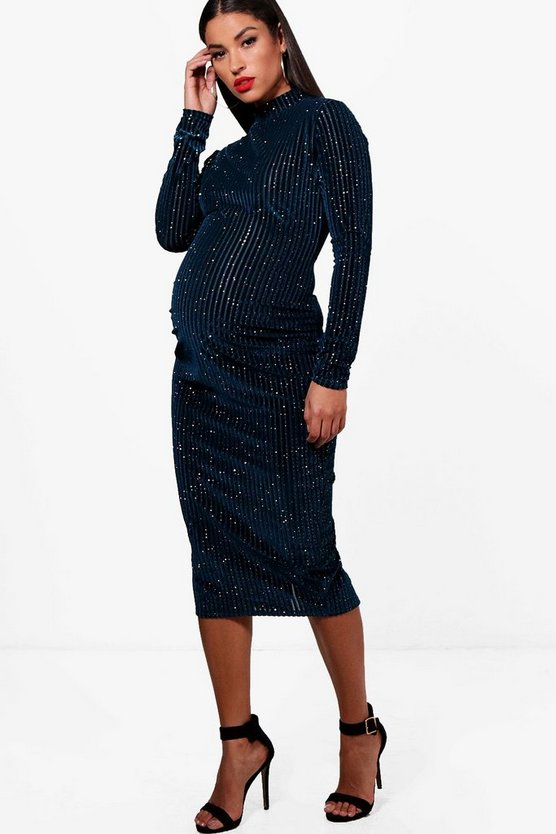 Maternity Julie Glitter Velvet Midi Dress