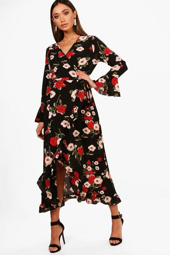 Maternity Steph Floral Wrap Ruffle Midi Dress