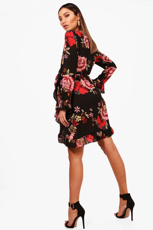 boohoo womens maternity laura wrap ruffle floral tea dress