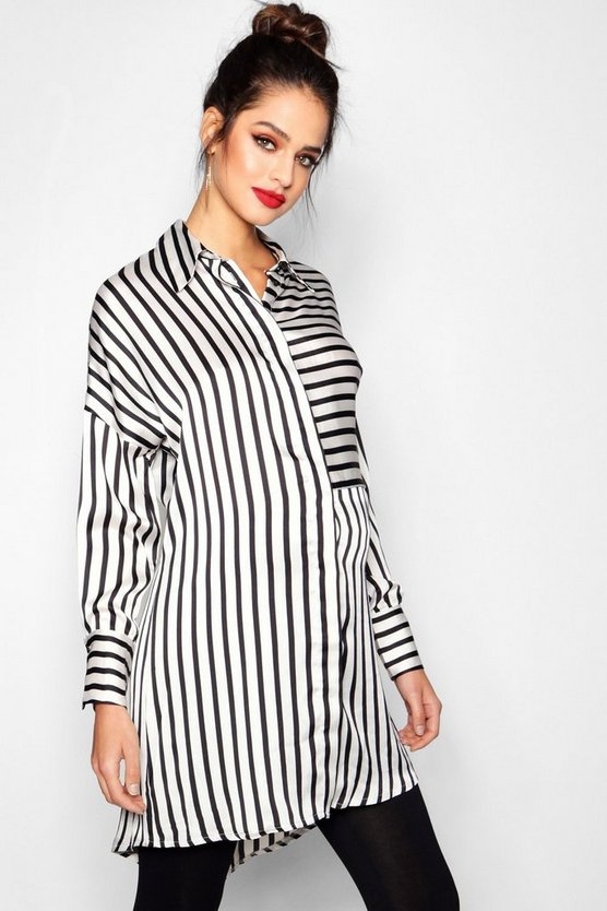 Maternity Megan Striped Oversized Shirt Dress