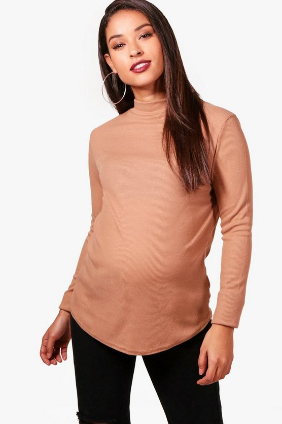 Maternity Ribbed High Neck Top