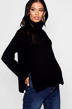 Maternity Roll Neck Sweater With Side Split