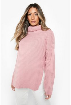 Womens Desert rose Maternity Roll Neck Sweater With Side Split