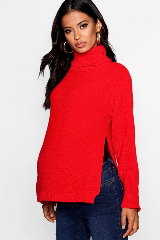 Womens Red Maternity Roll Neck Jumper with Side Split