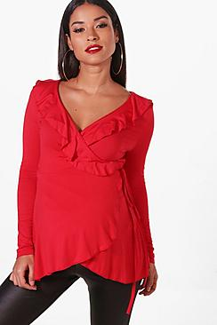 Vintage Style Maternity Clothes Maternity Ruffle Wrap Top $32.00 AT vintagedancer.com