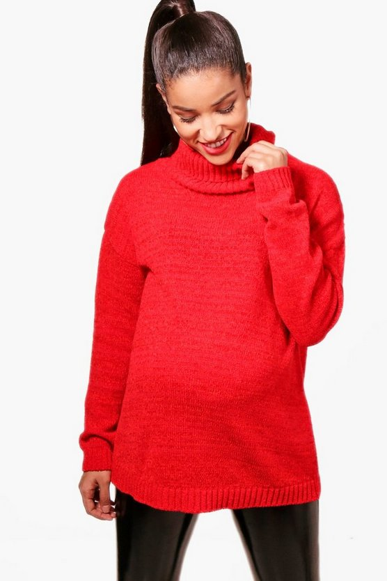 Maternity Chenille Roll Neck Jumper