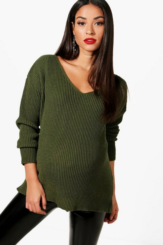 Maternity Slouchy V Neck Jumper