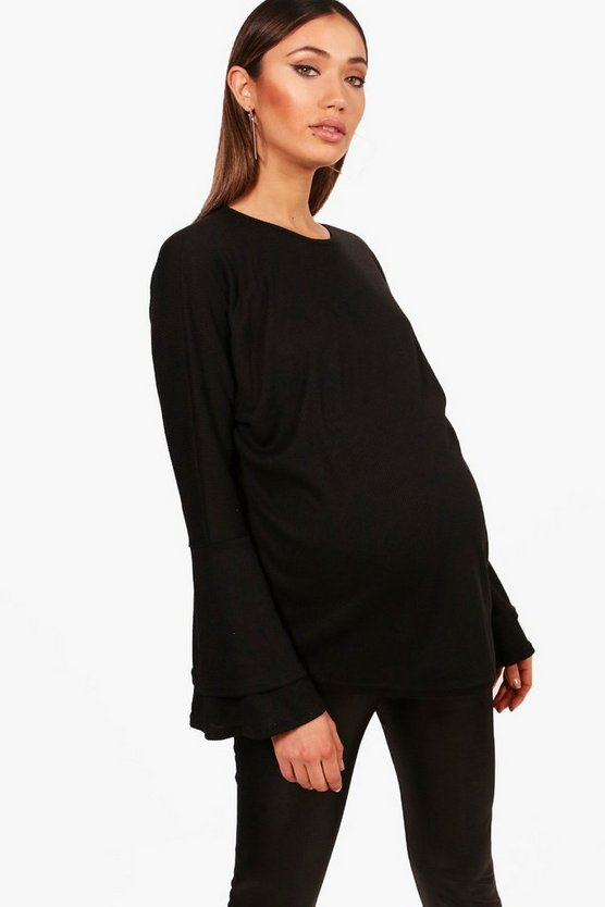 Maternity Laura Ruffle Sleeve Soft Rib Jumper, Black, MUJER