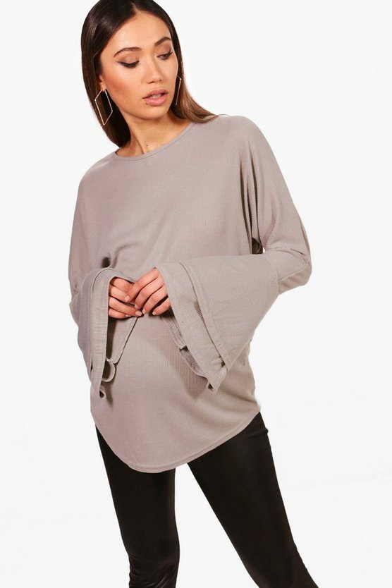 Maternity Laura Ruffle Sleeve Soft Rib Jumper