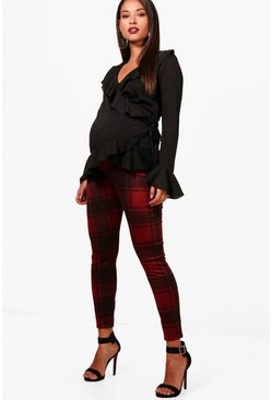 Womens Wine Maternity Check Over The Bump Legging