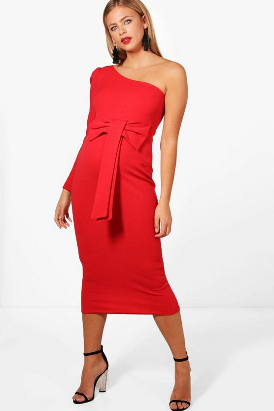 Maternity One Shoulder Bow Waist Midi Dress