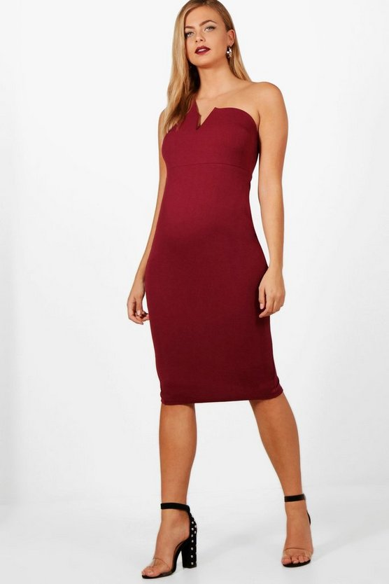 Maternity One Shoulder Plunge Neck Midi Dress