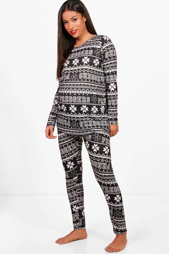 Womens Black Maternity Preggers Fairisle Pj Set
