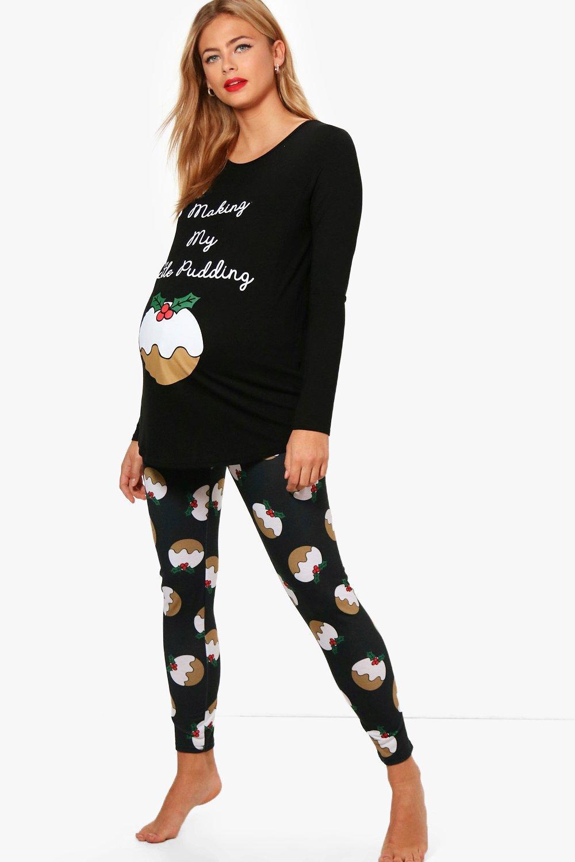 Christmas Pj.Maternity Amy Little Pudding Christmas Pj Set Boohoo