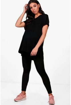 Womens Black Maternity Over The Bump Gym Legging