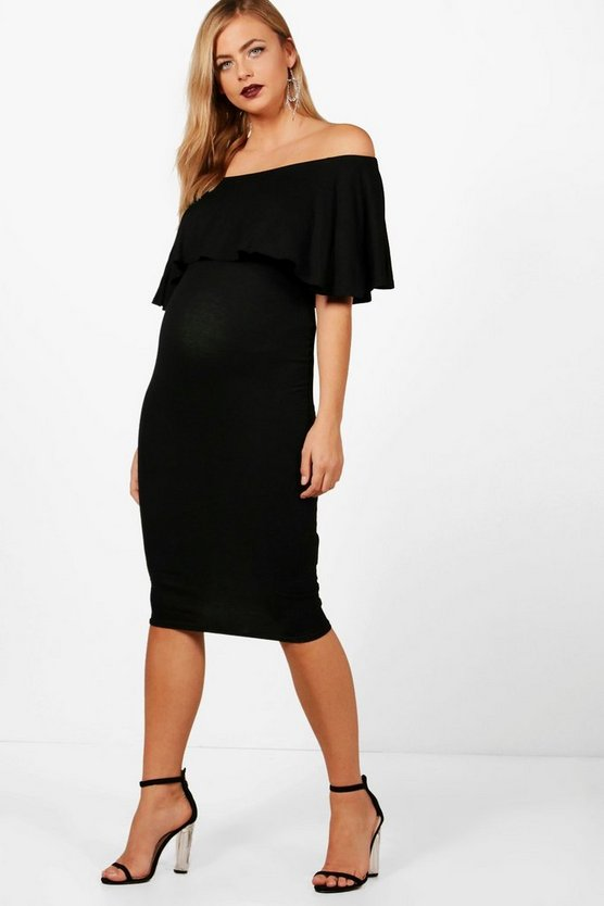 Maternity Jess Off The Shoulder Ruffle Midi Dress