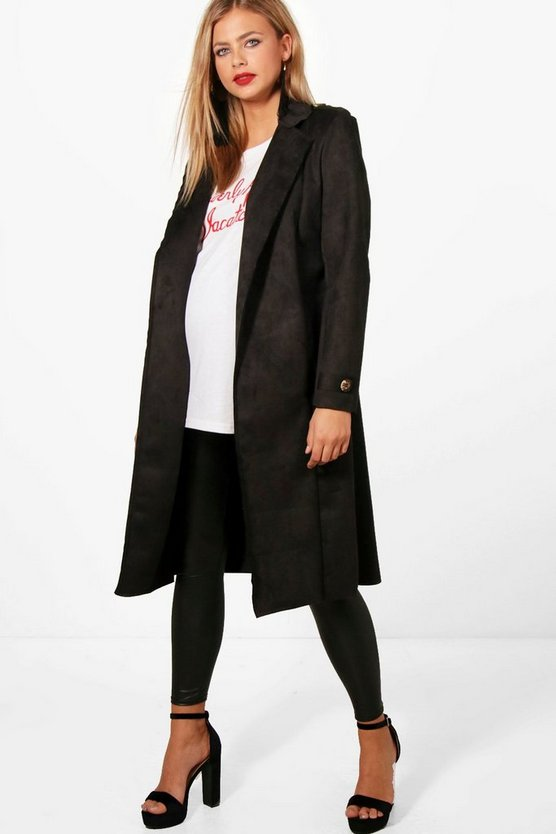 Womens Black Maternity Amy Suedette Oversized Waterfall Coat