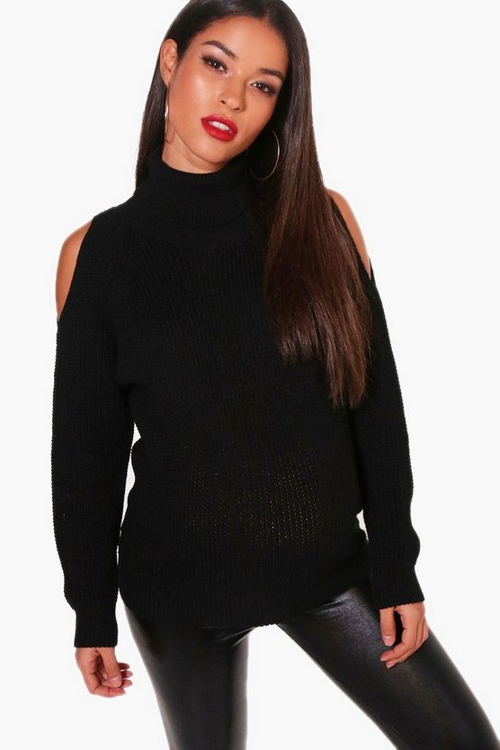 Womens Black Maternity Open Shoulder Roll Neck Jumper