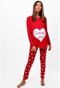 Womens Red Maternity  Coming Soon Heart PJ Set
