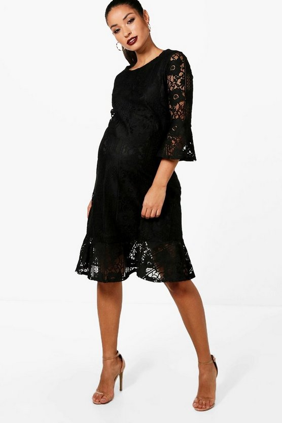 Maternity Lace Hem Ruffle Dress