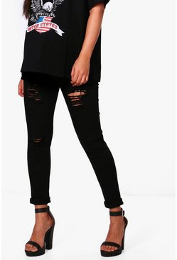 Womens Black Maternity  Rip Skinny Over The Bump Jean