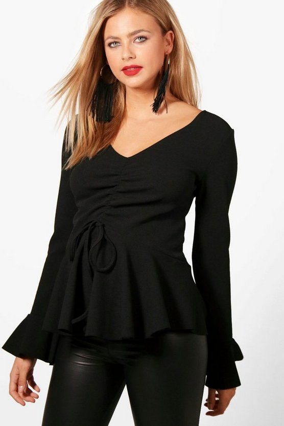 Maternity Abi Long Sleeve Ruched Front Top