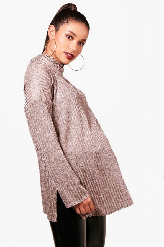 Mama Pullover mit Rollkragen und in Metallic-Optik