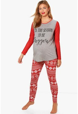 Womens Red Maternity Preggers Christmas Pyjama Set