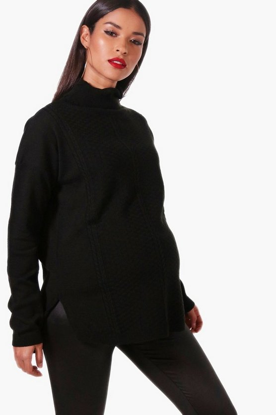 Maternity Roll Neck Textured Jumper
