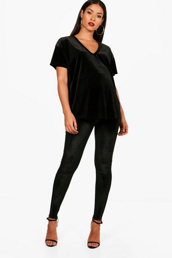 Maternity Velvet Over The Bump Legging