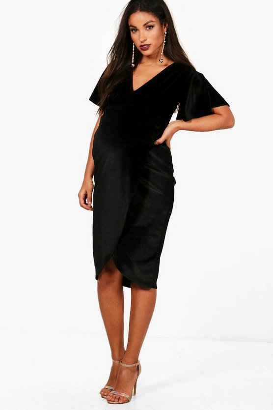 Womens Black Maternity Plunge Neck Velvet Midi Dress