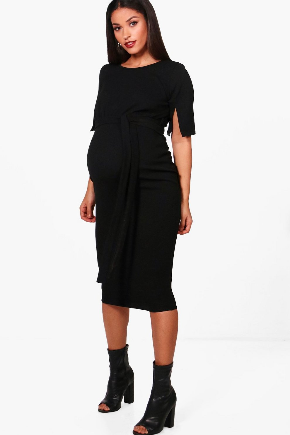 bdc2138ebbb7e Maternity Belted Split Sleeve Wiggle Dress | Boohoo