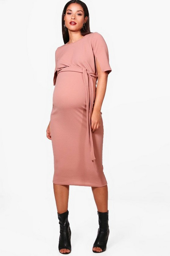 Maternity Belted Split Sleeve Wiggle Dress