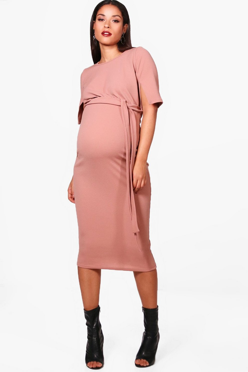 Maternity Belted Split Sleeve Wiggle Dress  4a0b2c0d7