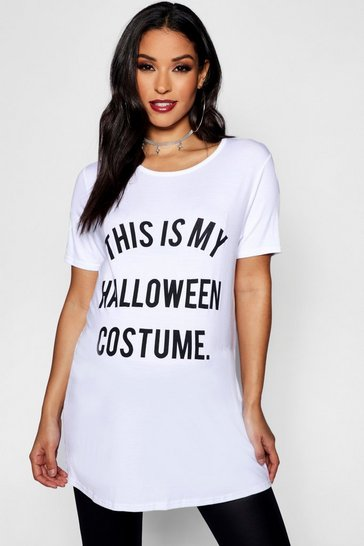 White Maternity Halloween Printed Tee