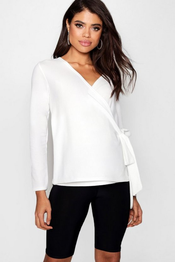 Womens Ivory Maternity Crepe Long Sleeve Wrap Top