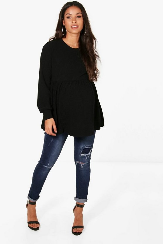 Womens Black Maternity  Ribbed Smock Jumper