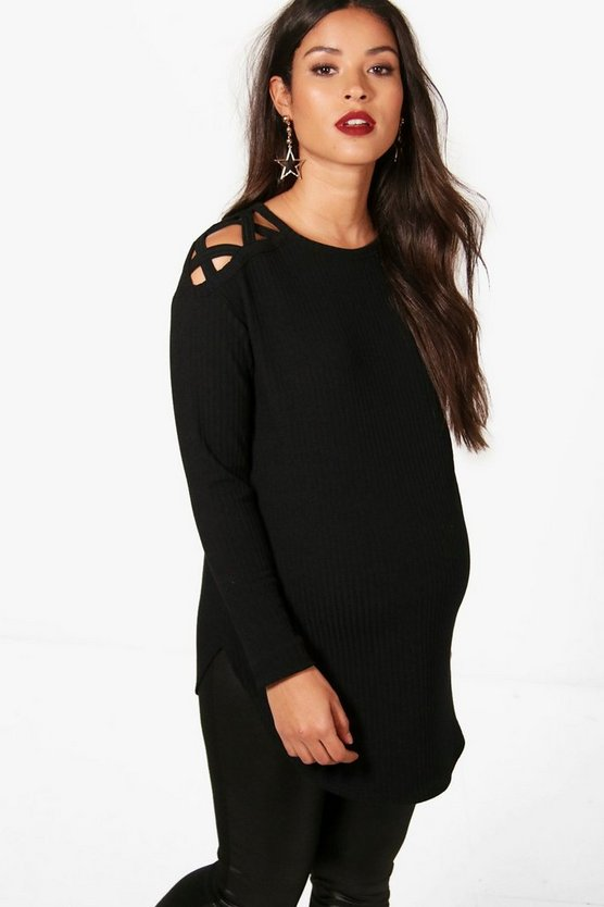 Womens Black Maternity Ella Strap Shoulder Detail Jumper