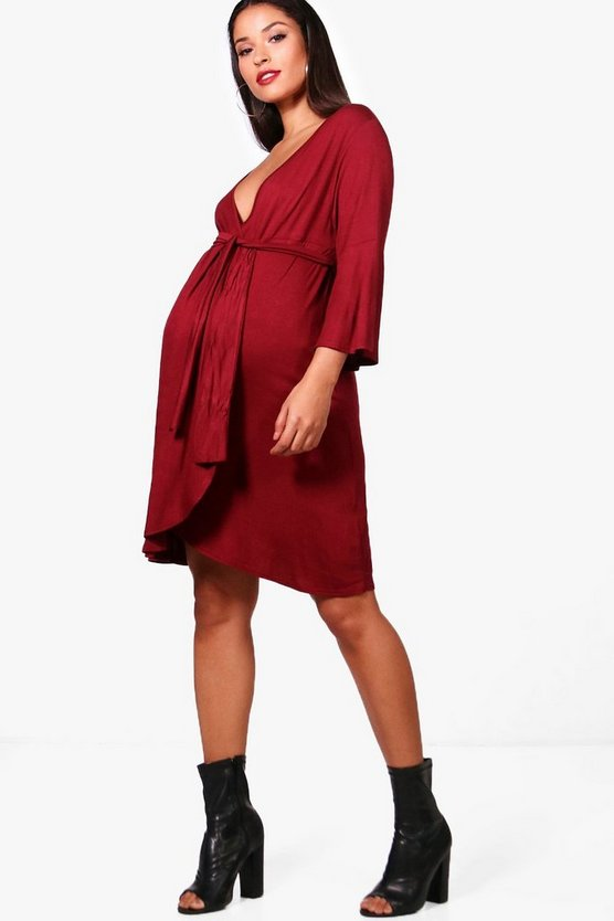 Maternity Wrap Dress With Flute Sleeve