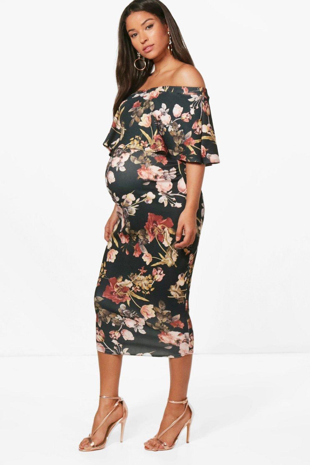 ba4de9bae27ca Maternity Hana Off The Shoulder Ruffle Midi Dress | Boohoo