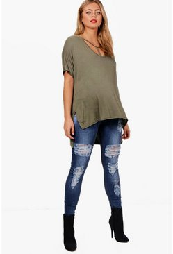 Womens Blue Maternity  Over The Bump Ripped Skinny Jeans