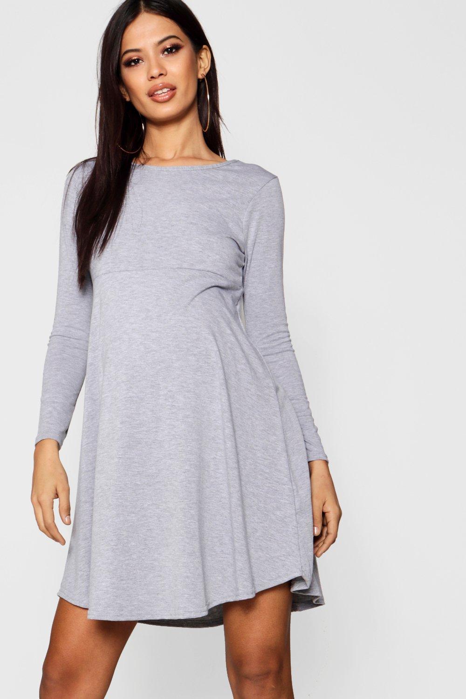 Sleeve Smock Dress grey Maternity Long UqEv15