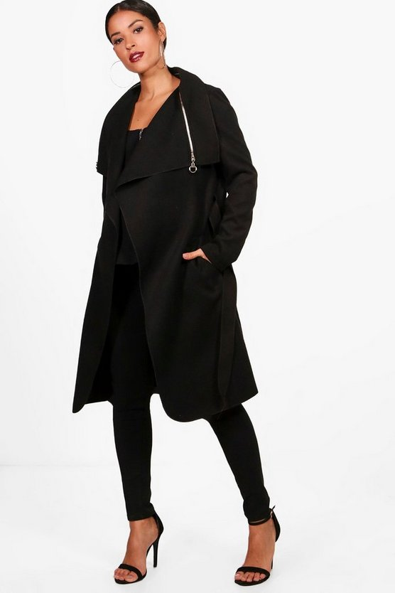 Womens Black Maternity Beth Waterfall Look Coat