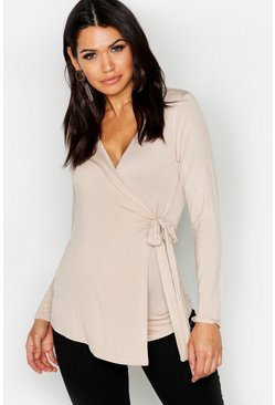 Stone Maternity  Long Sleeve Wrap Top