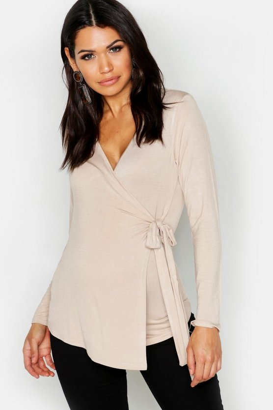 Maternity  Long Sleeve Wrap Top, Stone, Donna