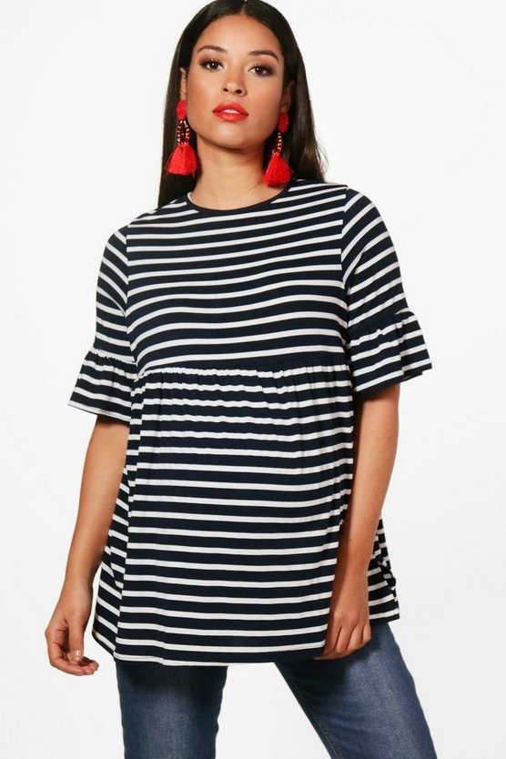 Maternity Jess Stripe Ruffle Smock Top