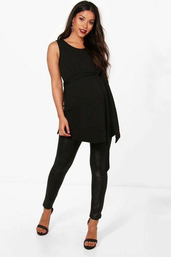 Womens Black Maternity Jess Crepe Sleeveless Tie Waist Tunic Top