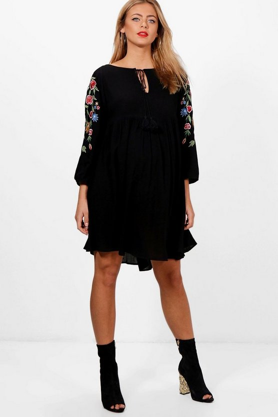 Maternity Embroidered Sleeve Smock Dress